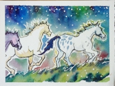 Night Ponies Running